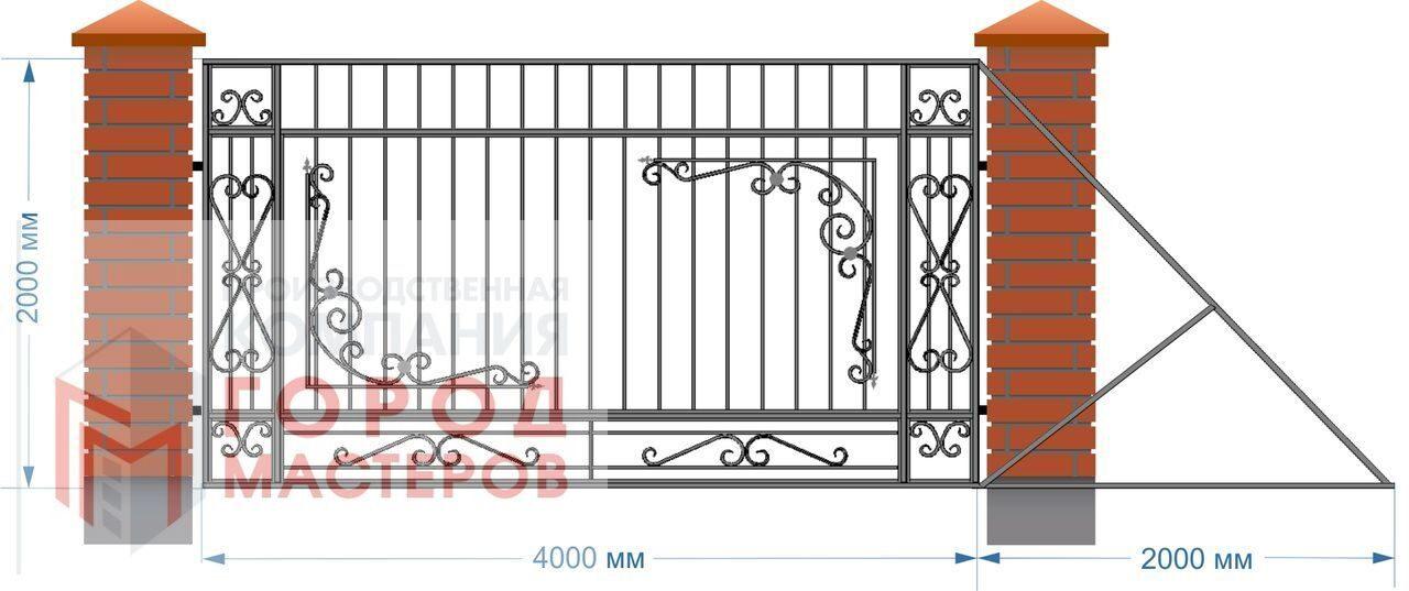 откатные раздвижные кованые ворота цены